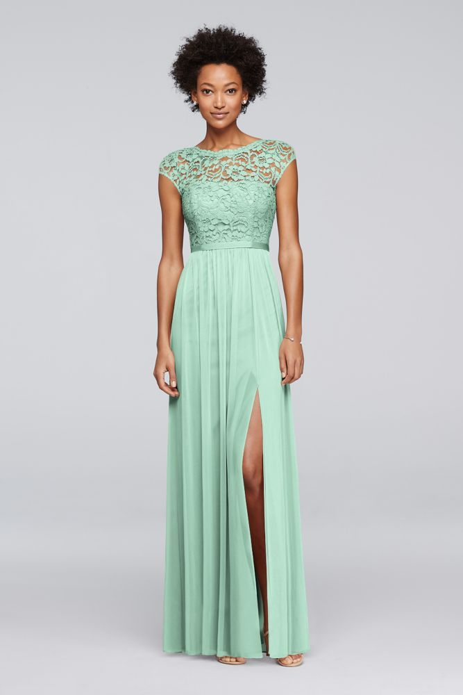 Long Bridesmaid Dress with Lace Bodice - Mint (Green) d2ae61d473c8