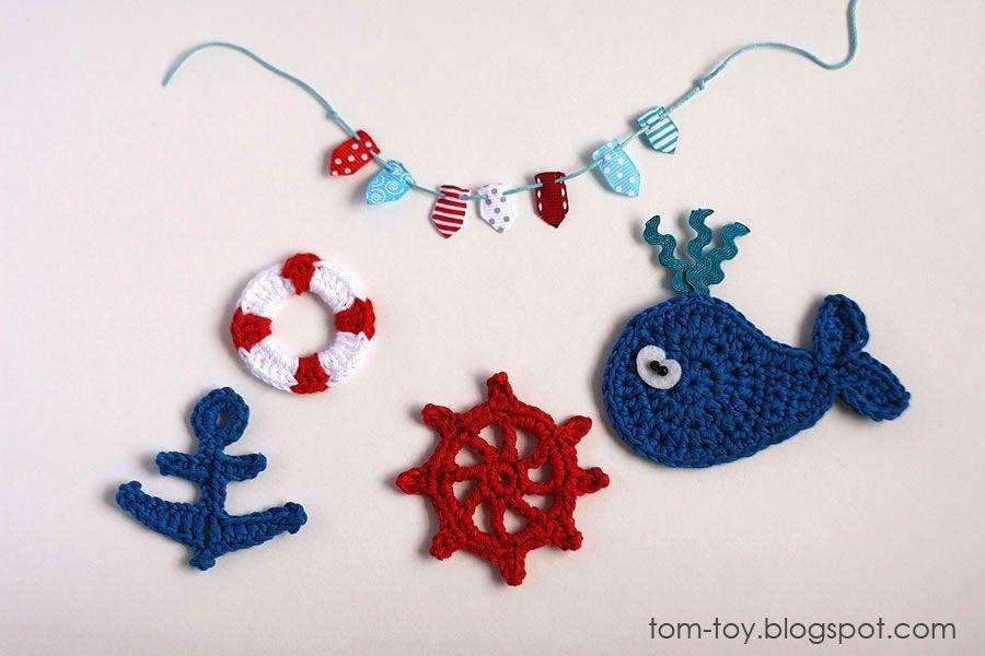 Nautical crochet appliques applique nautical crochet crochet