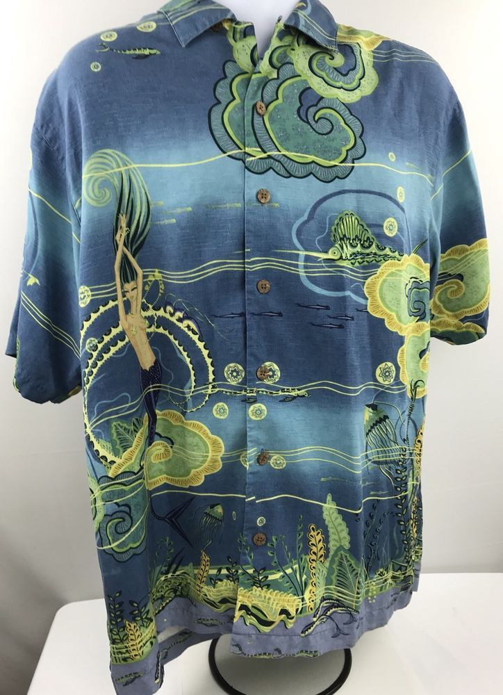 6076f2dd mens hawaiian shirt tommy bahama medium Mermaid Parrot Aloha Blue Green  Silk | Clothing, Shoes & Accessories, Men's Clothing, Casual Shirts | eBay!