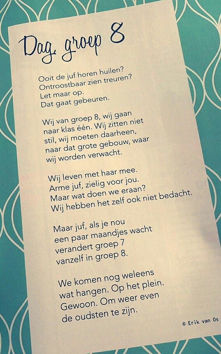 Beroemd Dag groep 8' gedicht van Erik van Os - Einde schooljaar - afscheid @ON84