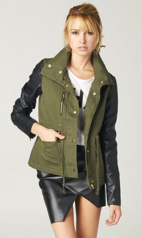 Ladies green jacket with leather sleeves