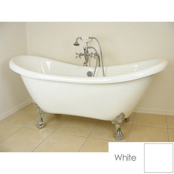 Florence Acrylic Double Slipper Clawfoot Tub No Faucet Drillings