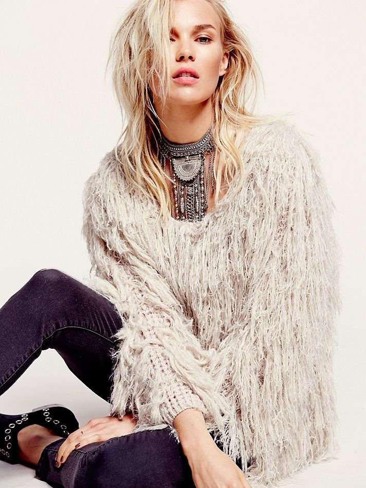b639314401adcb I wouldn't be able to decide if I would get the sand or the black - LOVE Free  People Faithful Shaggy Jacket