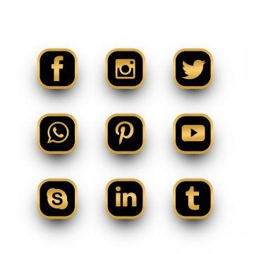 Luxury Golden Social Media Icons Pack   Social media icons ...