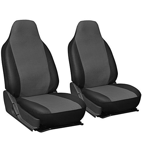 Oxgord 2pc Integrated Leatherette Bucket Seat Covers Universal Fit For Cartruckvansuv Gray Black Bucket Seat Covers Truck Seat Covers Leather Car Seat Covers