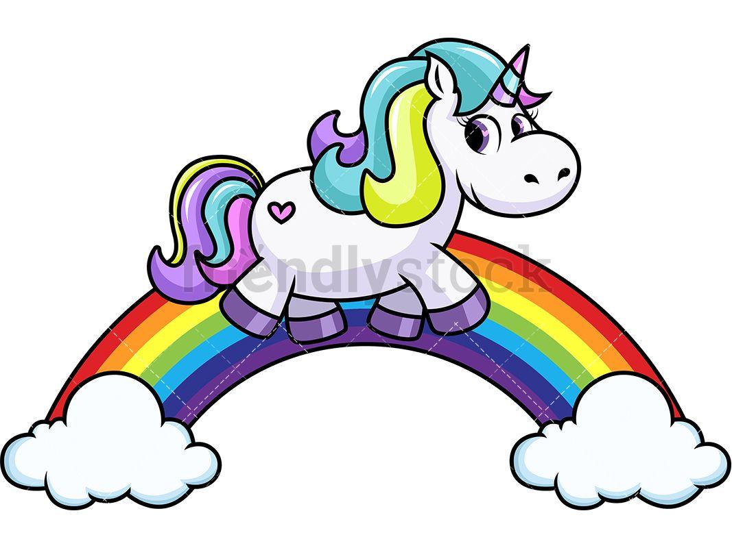 Unicorn Walking On Rainbow With Images Rainbow Cartoon Diy