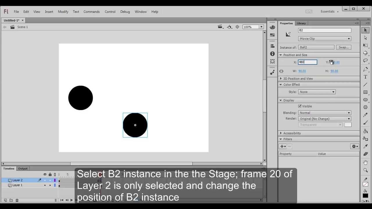 Create ball animation using Create Classic Tween feature in Adobe