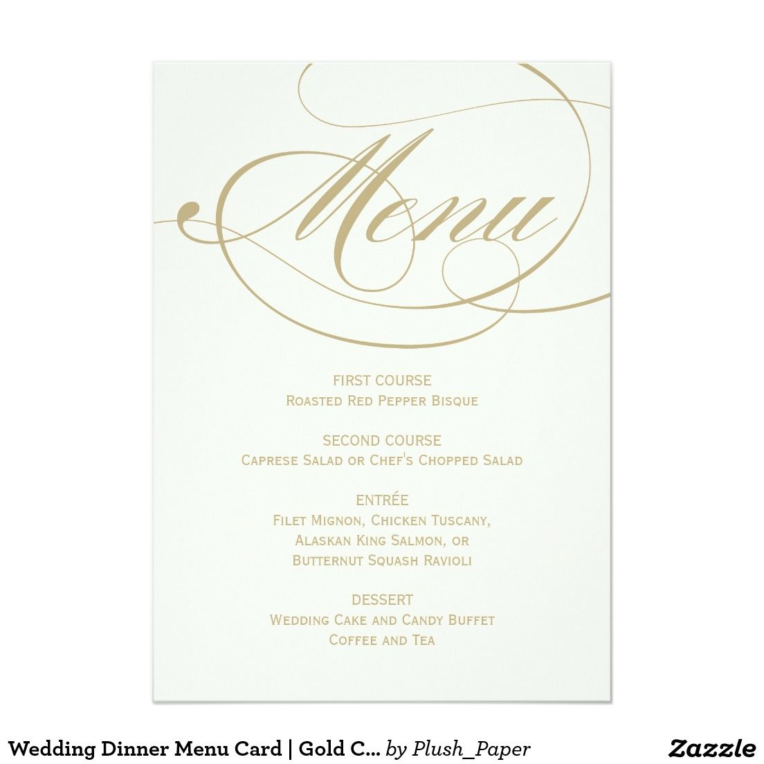 Wedding dinner menu card gold calligraphy design gold wedding discover amazing wedding menu cards with zazzle invitations greeting cards photo cards in thousands of designs themes stopboris Choice Image