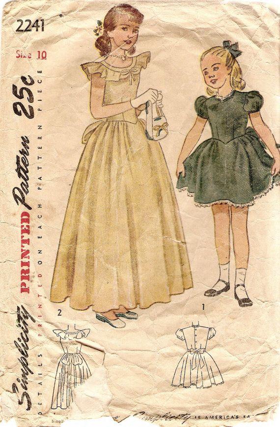 1940s Girls Dress Pattern Formal or Short Dress Simplicity 2241 size ...
