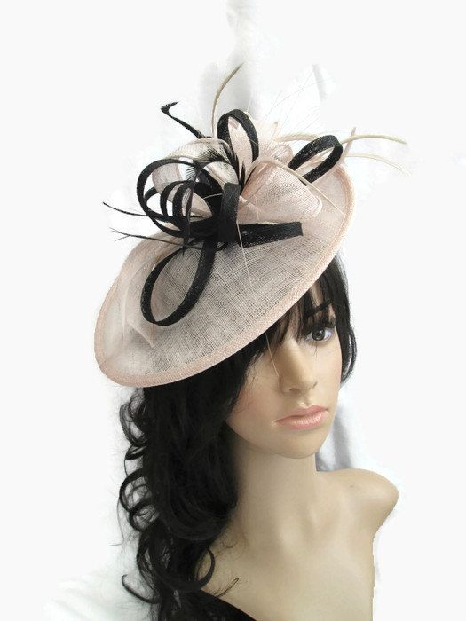 Beautiful Nude pink with Black trim Sinamay Fascinator Hat on a Headband   design  fascinatorforraces 653de8e0b4e9