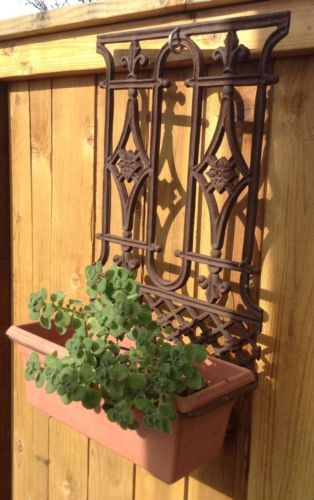 Vintage Cast Iron Garden Wall Décor Architectural  Hanging Fireplace Hearth