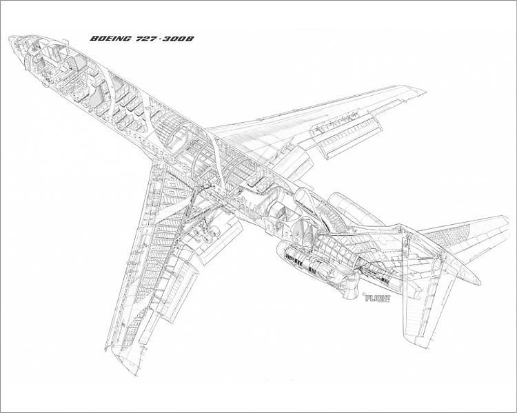 Print of Boeing 727-300B Cutaway Drawing in 2020