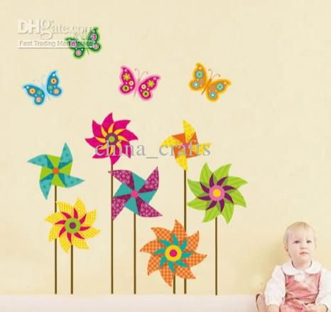 china_crafts provide  Free Shipping Removable Wall Art Stickers Kids Room Wall Decals 50x70cm Windmills And Butterflies Nursery Wall Decor in high quality, cute buy wall decals and classical buy wall sticker for you to choose, use buy wall stickers to decorate your walls.