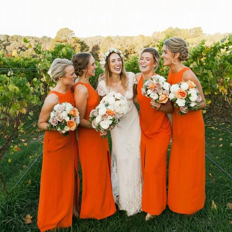 Bright Orange Bridesmaid Dresses 2015 Jewel Neck Split Front Chiffon Wedding Party Guest Gowns Cheap Plus Size Zipper Back Prom Formal Wear Online with $70.16/Piece on Nameilishawedding's Store   DHgate.com