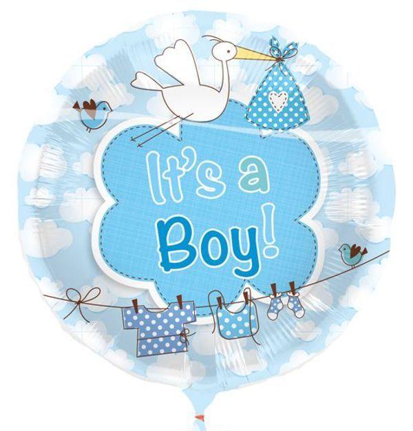 Luftballon Zu Geburt Und Taufe Eines Jungen It S A Boy Mit Klapperstorch Ballon Mit Ballongas Helium Folienballons Gebu Klapperstorch Luftballons Storch
