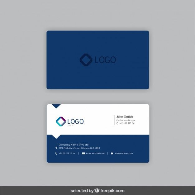 6f8a7456cfaf9 Business card in dark blue color Free Vector