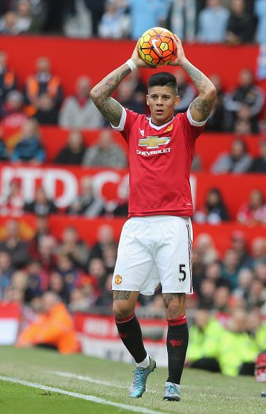 Marcos Rojo of Manchester United in action during the Barclays Premier League match between Manchester United and Manchester City at Old Trafford on...
