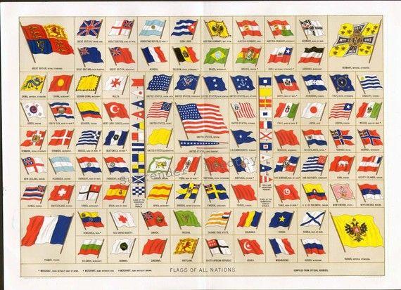 Flags Of All Nations 1895 Huge Victorian Era Chromolithograph Etsy Chromolithograph Flags Of All Nations Victorian Era