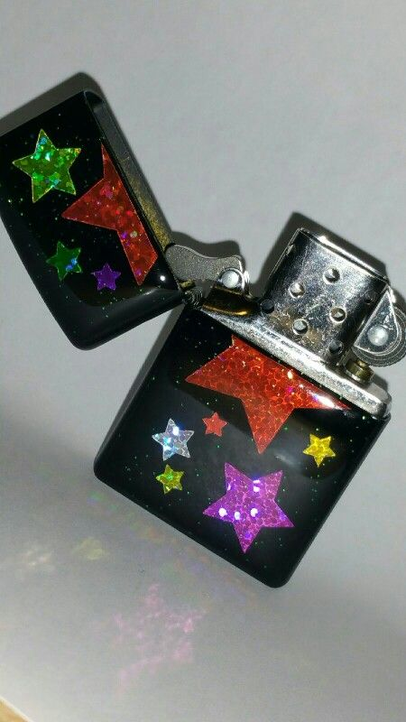 Custom resin zippo with glitter and glitter star stickers
