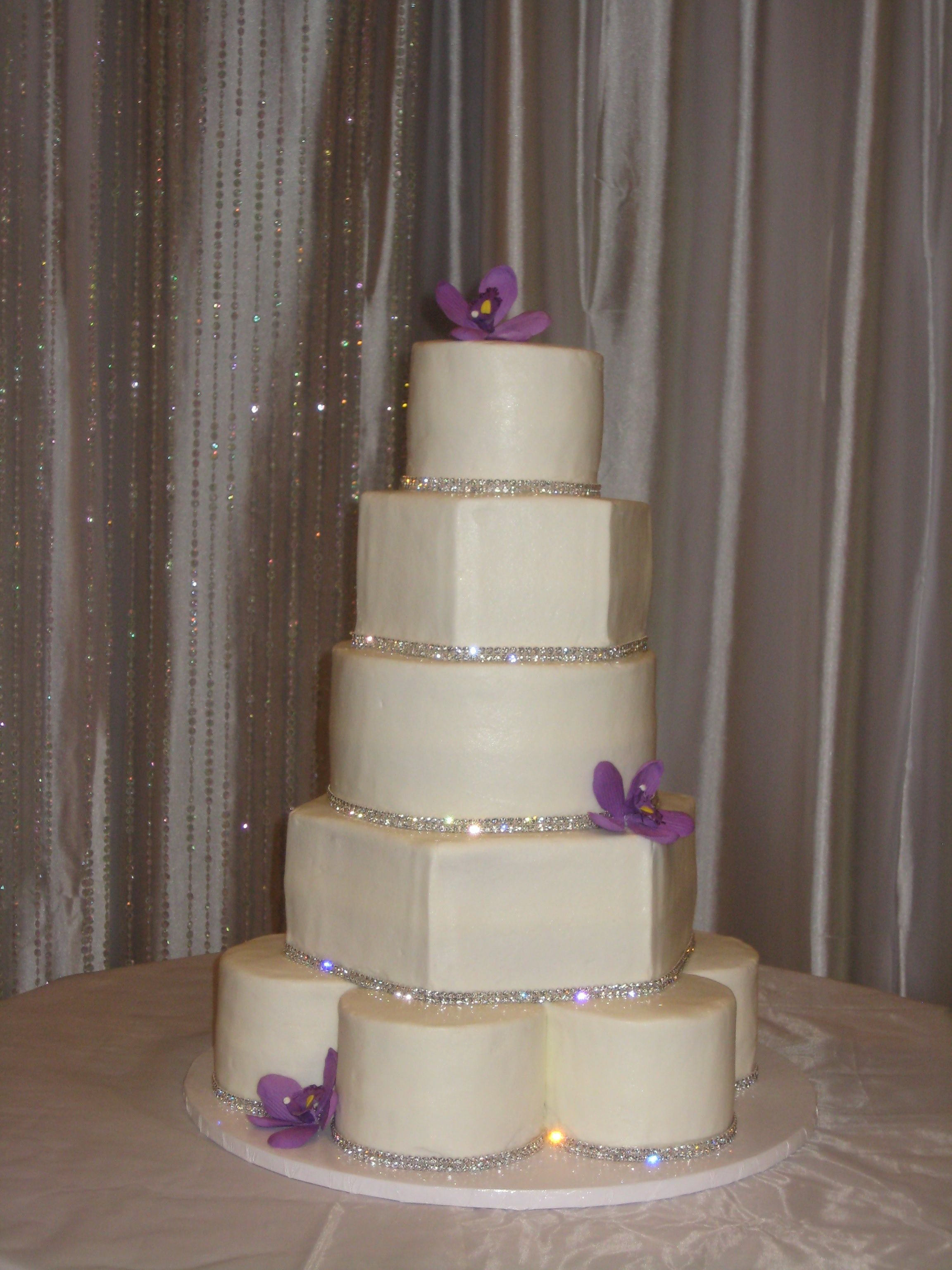 5 tier mixed shape wedding cake with rhinestones and sugar