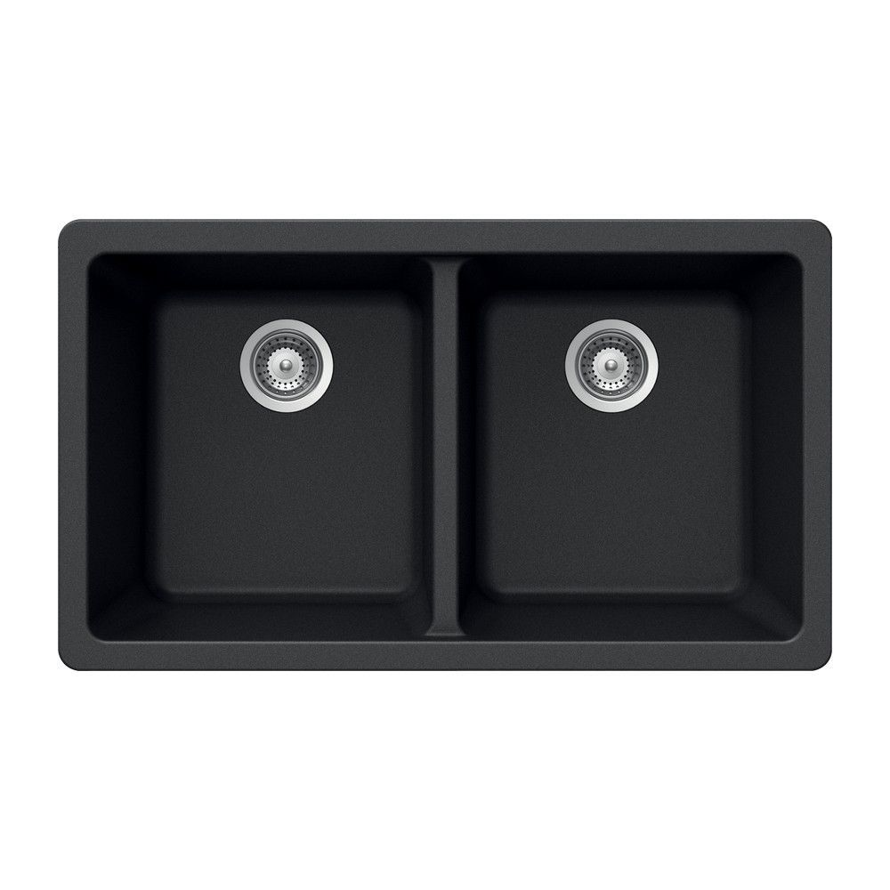 Houzer M-200U MIDNITE Quartztone Series Granite Undermount 50/50 Double Bowl Kitchen Sink, Black