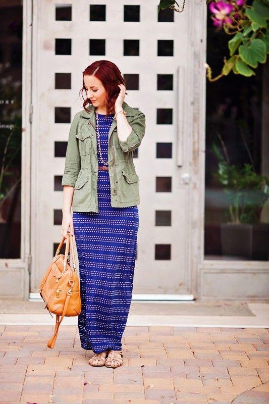 Polka Dot Maxi, Army Jacket, and Rebecca Minkoff || Stripes & Stilettos