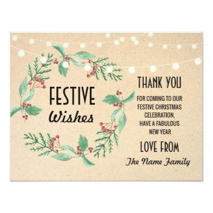 Festive Holidays Thank you Cards Merry Christmas Invitation ideas