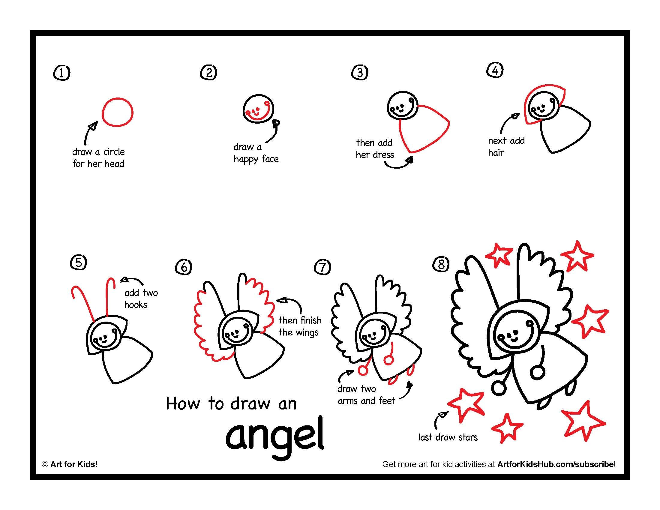 How To Draw An Angel Art For Kids Hub Art For Kids Hub