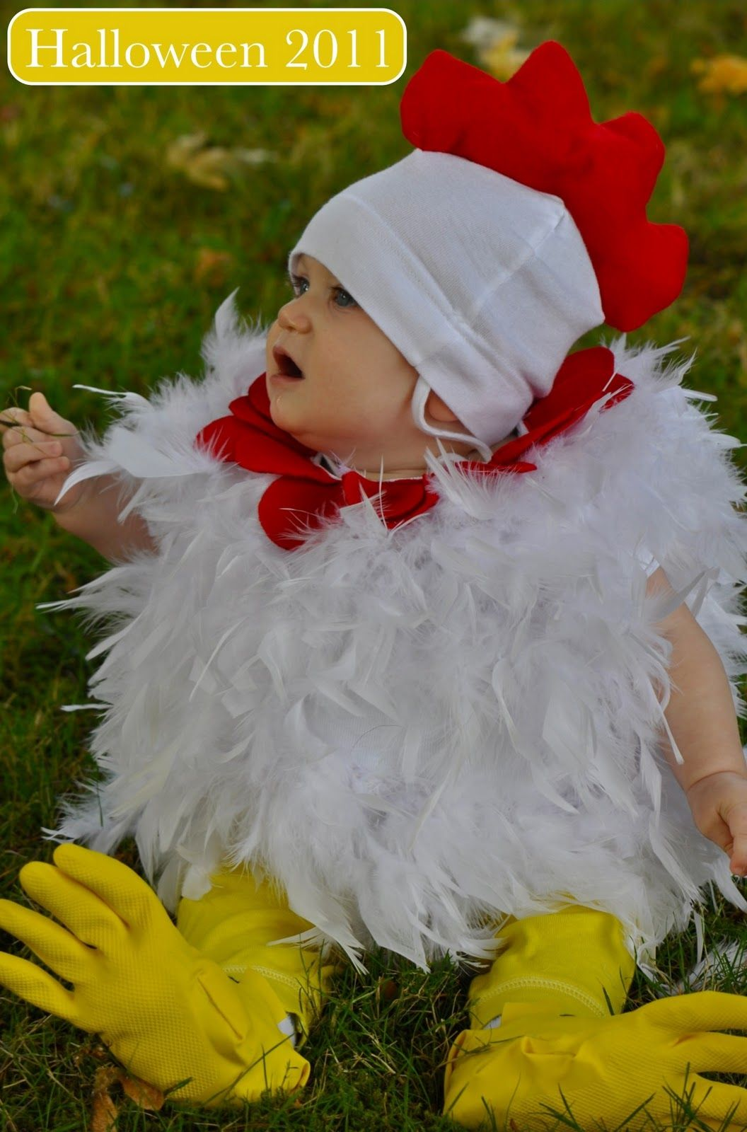 DIY Halloween costume for baby and toddler chicken