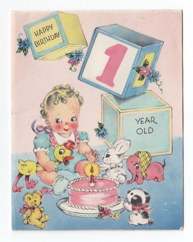 Vintage greeting card cute babys first birthday one year old cake vintage greeting card cute babys first birthday one year old cake animals 1940s kristyandbryce Choice Image