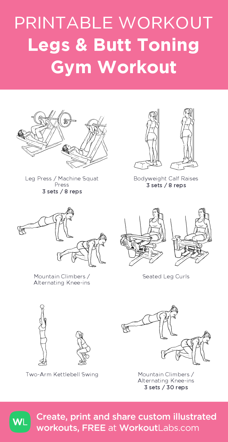 Legs & Butt Toning Gym Workout · Free workout by WorkoutLabs Fit