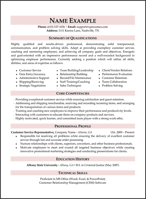 Superior Objective For Resume For Customer Service Customer Service Resume Samples  Free  Customer Service Professional Resume