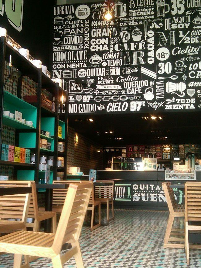 Digging The Type Wall CIELITO Cafes, México City. Restaurant Interior Design  By Ignacio Cadena U0026 Héctor Esrawe