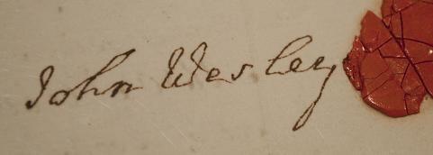 John Wesley's signature and seal
