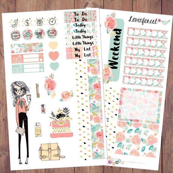 Viena fashion planner sticker, girl sticker, planner sticker fashion, fashion girl sticker, weekly kit, erin condren, happy planner, MK007
