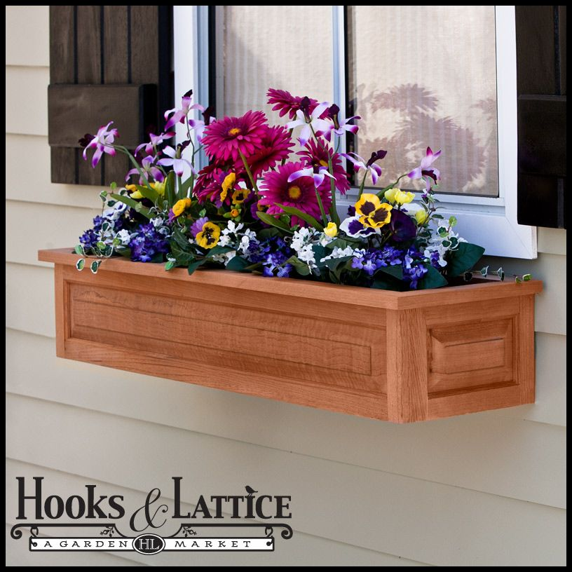 Raised Panel Cedar Window Box W Liner Option Wooden Flower Boxes Flower Boxes Wooden Window Boxes
