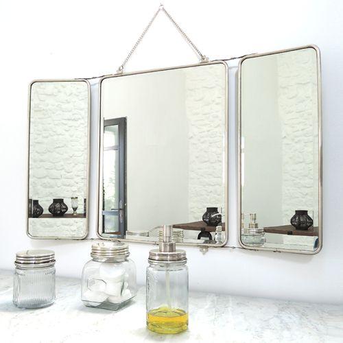 miroir barbier 3 faces nickel argenté chaîne amovible chaumont