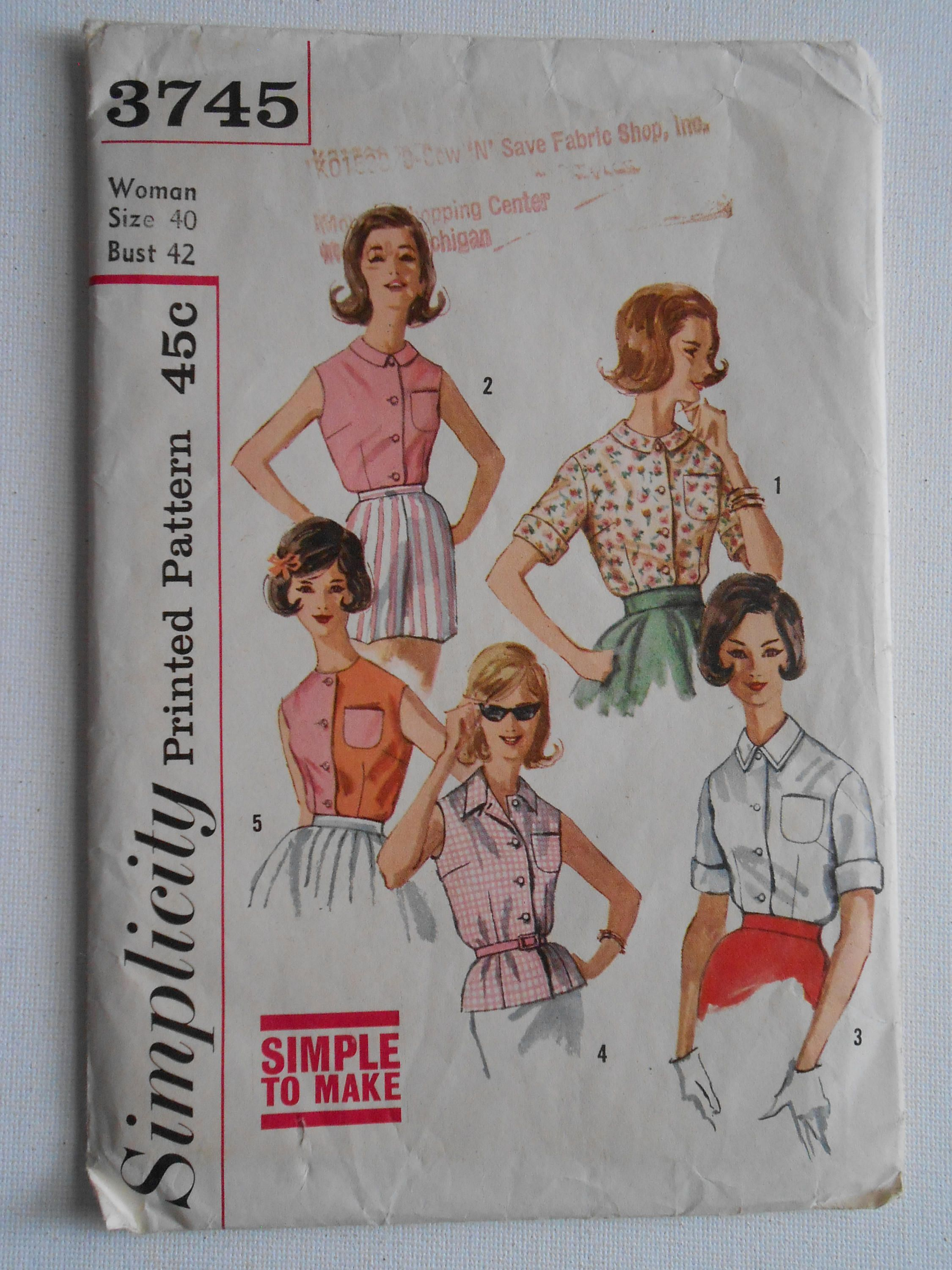Vintage 50s 60s Women's Front Button Blouse Sewing Pattern