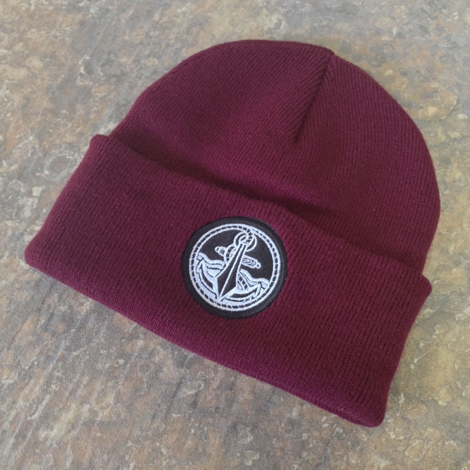 aa1da6ca5f5 Burgundy Anchor Beanie. keep them lobes warm! Don t forget all orders until  the 5th of April win a amazing Easter prize! www.ukcustomplugs.co.uk  plug  ...