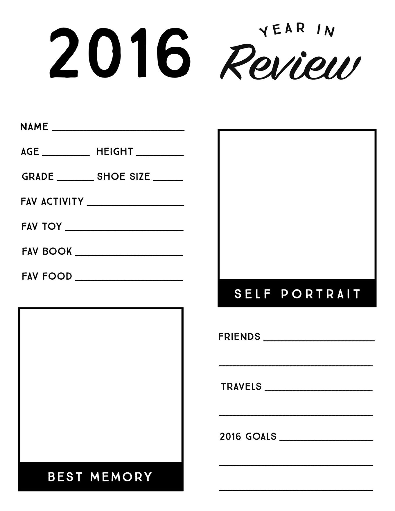 2016 Year In Review Printable For Kids N E W Y E A R S