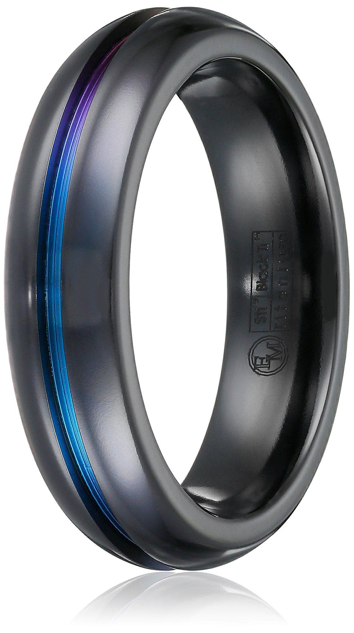 Men's Black Titanium Grooved Rainbow Dome Ring, Size 10.5