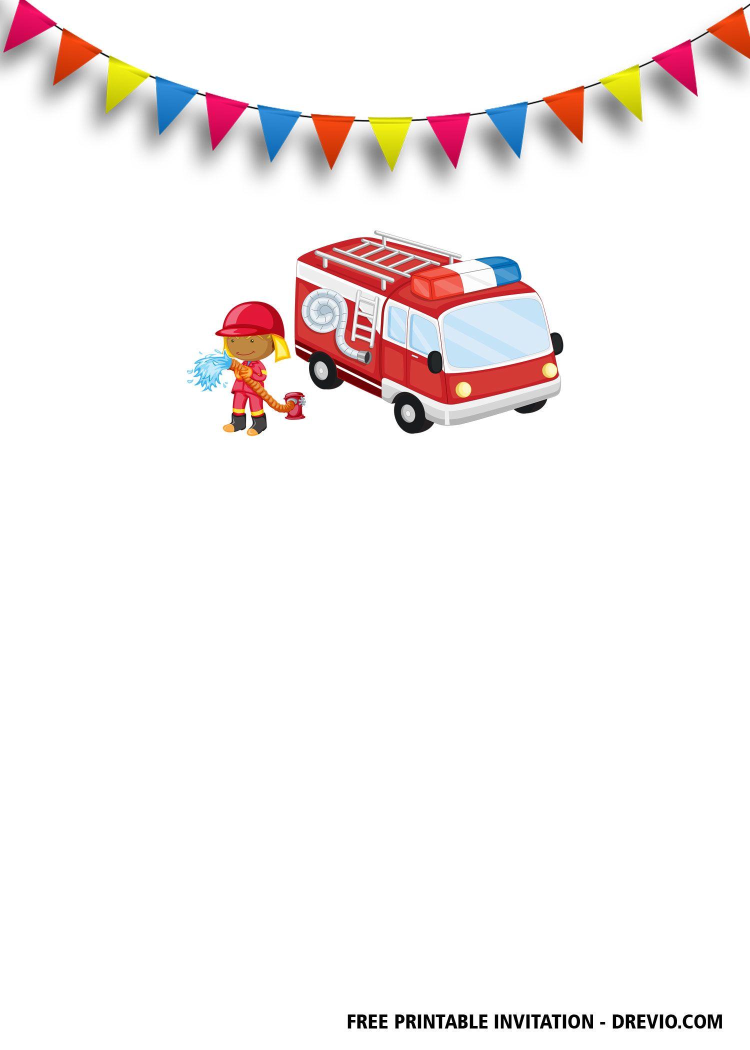 Free Fireman Birthday Invitation Templates Fireman Birthday Printable Birthday Invitations Free Printable Birthday Invitations