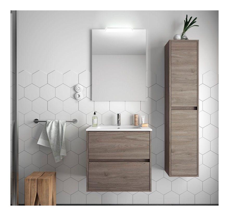 Meuble De Salle De Bain Suspendu 70 Cm Roble Avec Lavabo En Porcelaine 70 Cm Avec Double Colonne Miroir Et Lampe A Led Sa85280d In 2020 Vanity Double Vanity Bathroom
