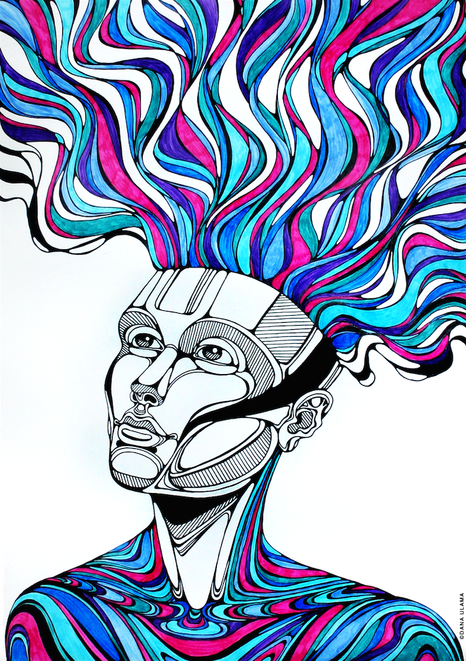 rainbow trippy psychedelic hair lineart acid mind colors
