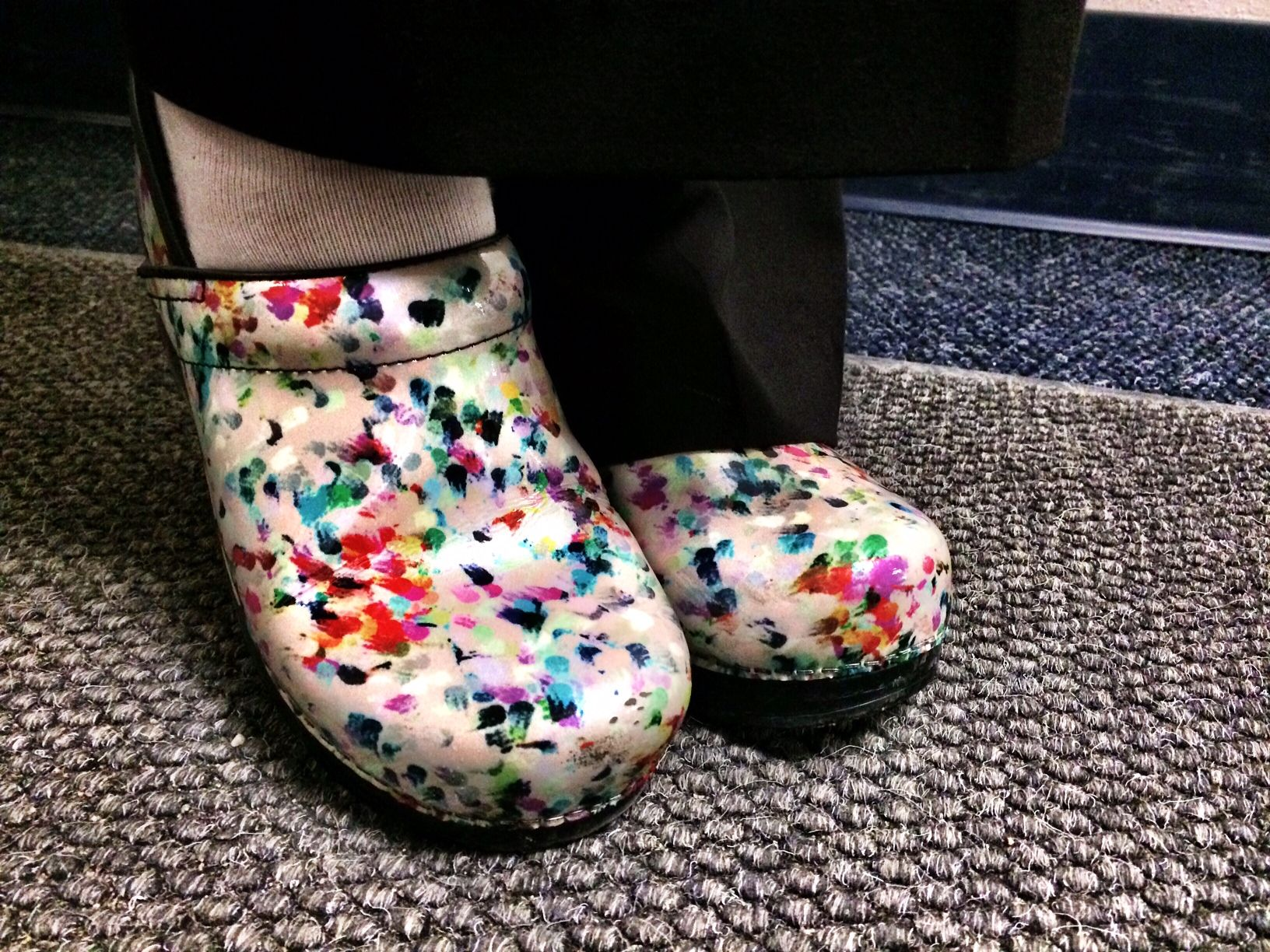"Taylor's #Dansko shoes. She says they are ""the most comfortable shoes in the world."""