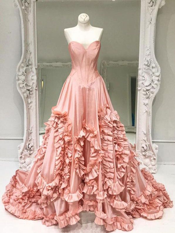 Chic A-line Sweetheart Pearl Pink Taffeta Simple Modest Prom Dress ...