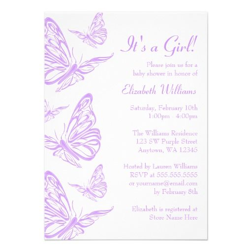 Erfly Theme Baby Shower Lavender Pretty Purple Invitations From Zazzle