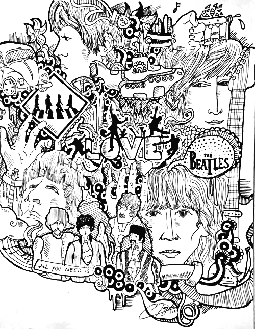 The Beatles illustration :) | the beatles | Pinterest