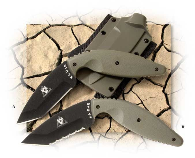 Ka-Bar® Large TDI Law Enforcement Knife Tanto Style Blade and Foliage Green Handles
