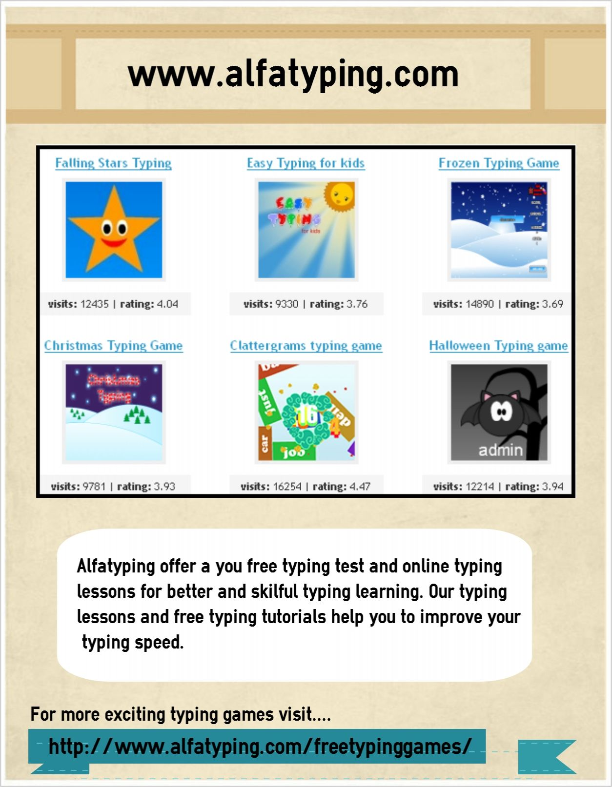 Alfatyping is a free online typing tutorials and online typing games ...